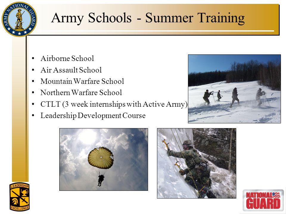 Army Schools - Summer Training Airborne School Air Assault School Mountain Warfare School Northern Warfare School CTLT (3 week internships with Active