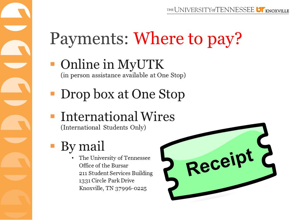 Payments: Where to pay.
