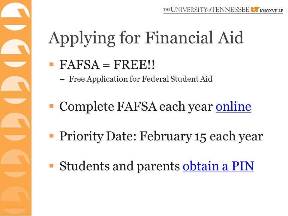 Applying for Financial Aid  FAFSA = FREE!.