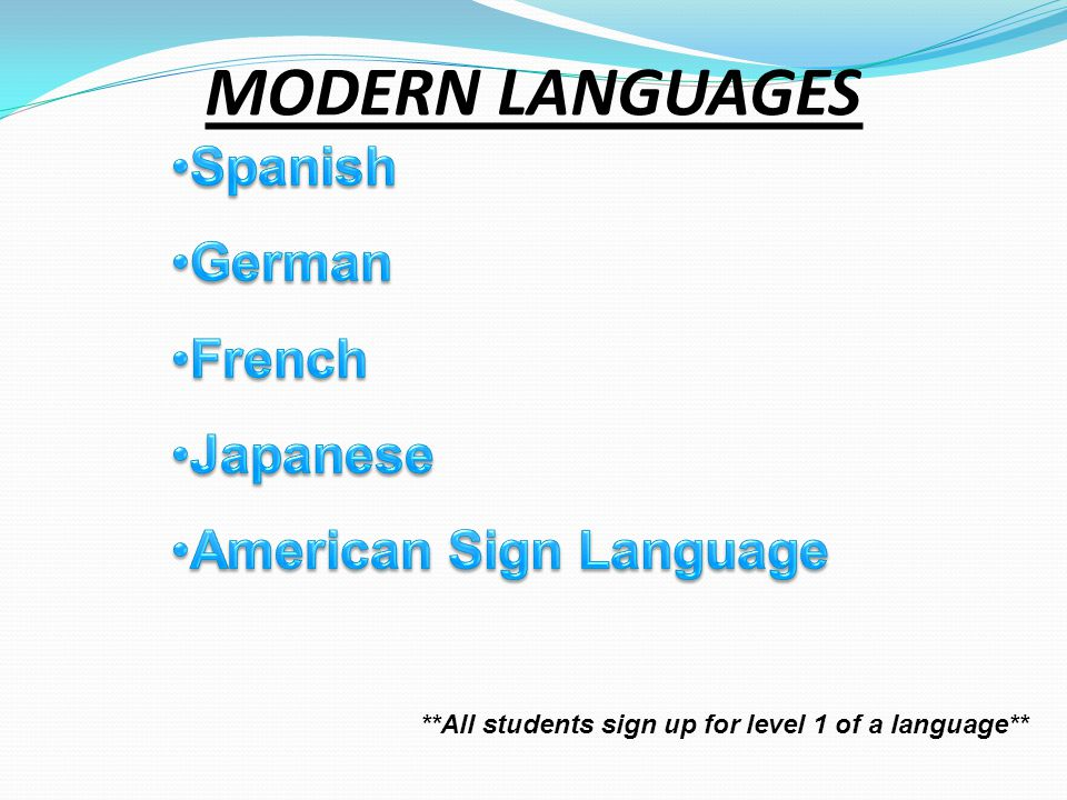 MODERN LANGUAGES **All students sign up for level 1 of a language**