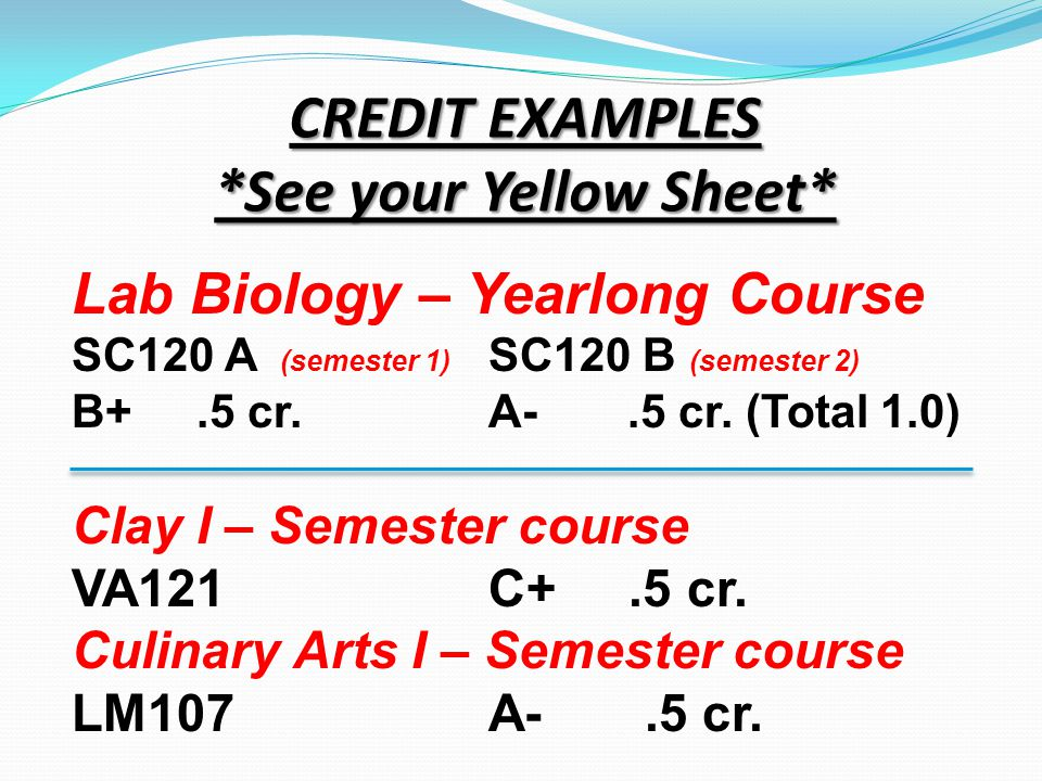 CREDIT EXAMPLES *See your Yellow Sheet* Lab Biology – Yearlong Course SC120 A (semester 1) SC120 B (semester 2) B+.5 cr.A-.5 cr. (Total 1.0) Clay I –