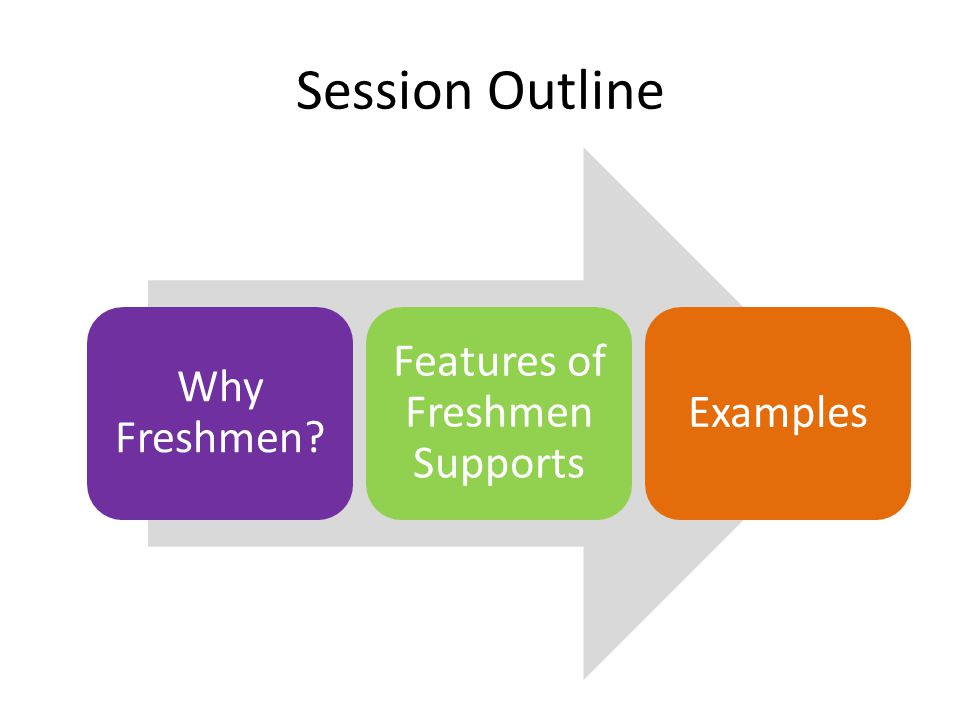 Session Outline Why Freshmen Features of Freshmen Supports Examples