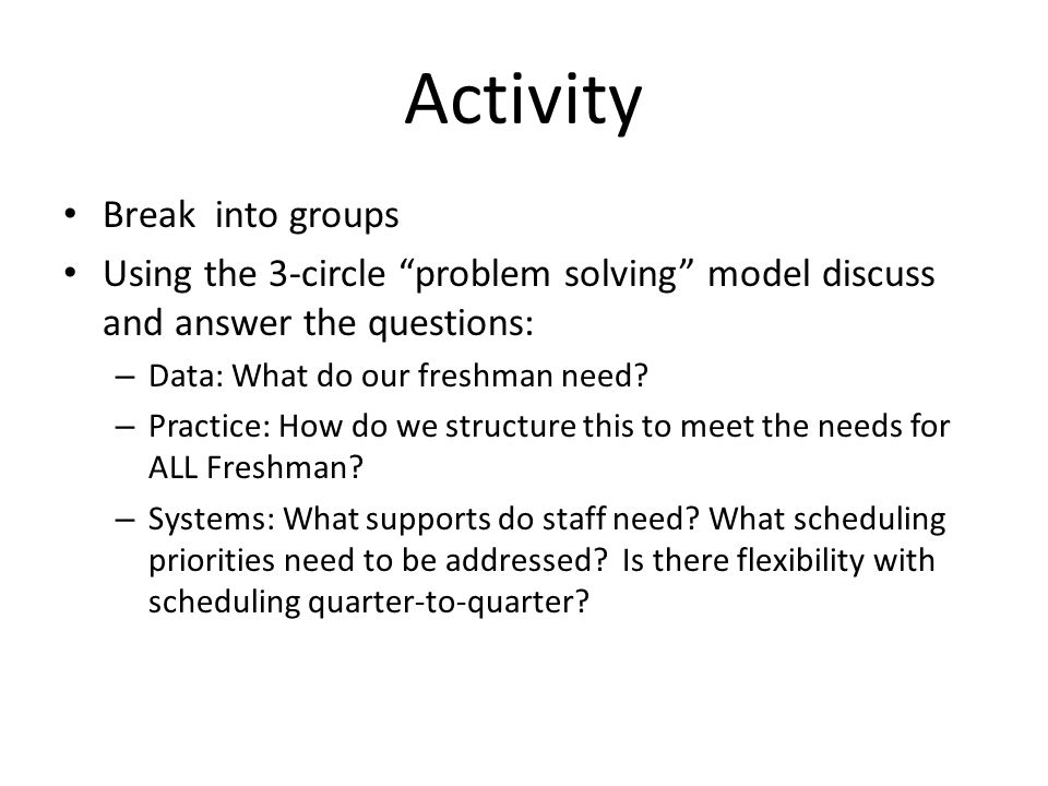 Activity Break into groups Using the 3-circle problem solving model discuss and answer the questions: – Data: What do our freshman need.