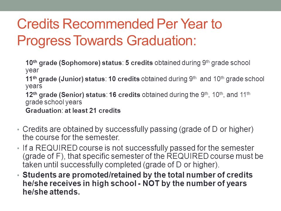 Credits Recommended Per Year to Progress Towards Graduation: 10 th grade (Sophomore) status: 5 credits obtained during 9 th grade school year 11 th gr