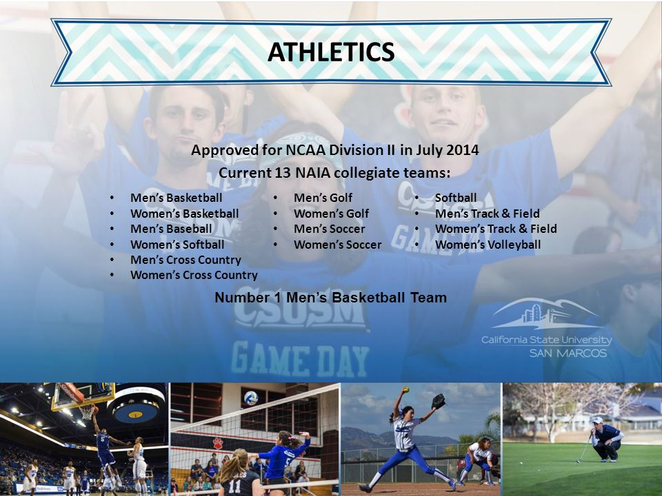 ATHLETICS Approved for NCAA Division II in July 2014 Current 13 NAIA collegiate teams: Number 1 Men's Basketball Team Men's Golf Women's Golf Men's So