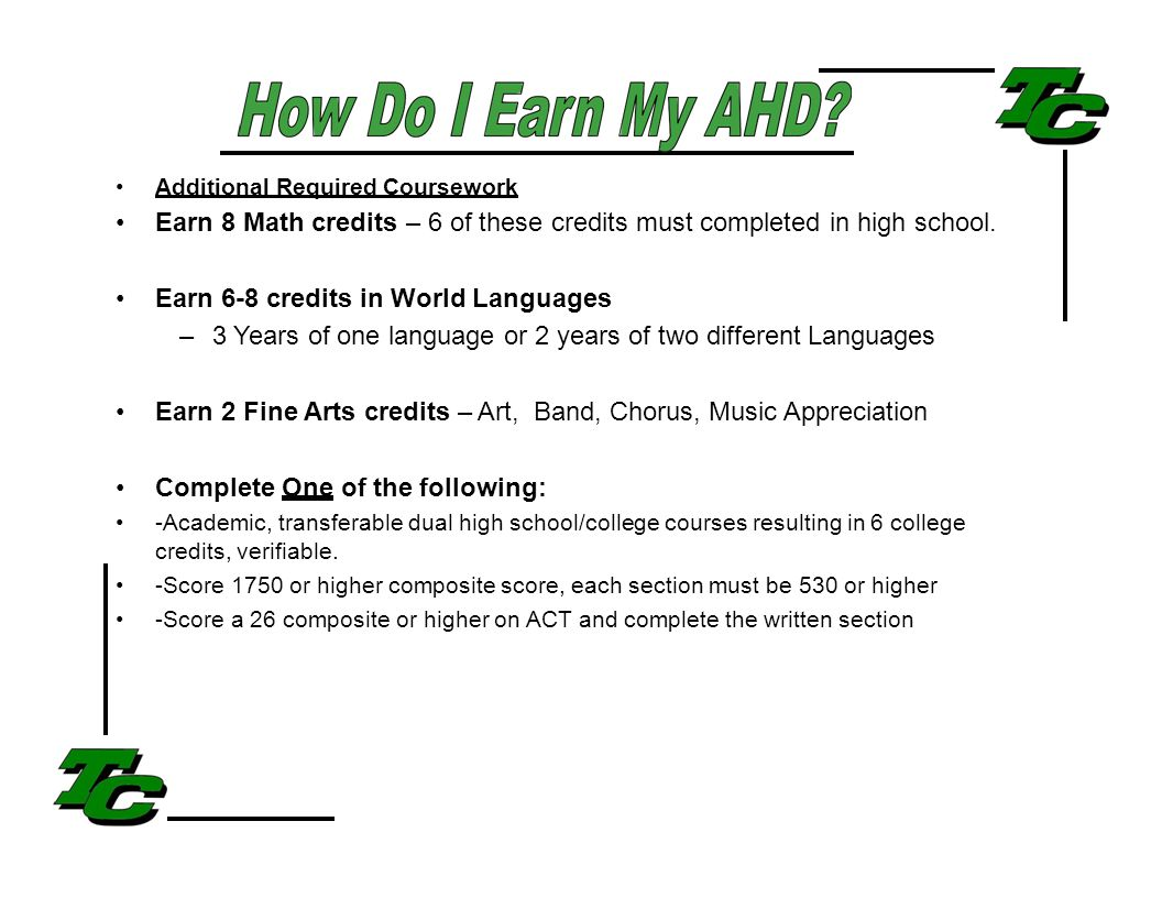 Additional Required Coursework Earn 8 Math credits – 6 of these credits must completed in high school.