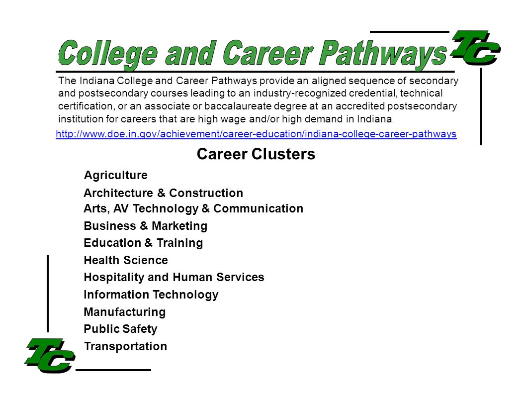The Indiana College and Career Pathways provide an aligned sequence of secondary and postsecondary courses leading to an industry-recognized credential, technical certification, or an associate or baccalaureate degree at an accredited postsecondary institution for careers that are high wage and/or high demand in Indiana.