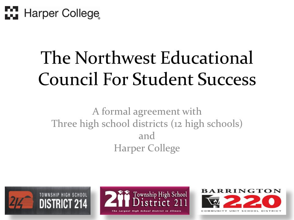 Partners for Success--Mathematics Specific Results with District 211  8% increase in enrollment in senior math by Algebra II juniors  6% increase in number of Harper freshman taking a college- level math class  11% decrease in number of Harper freshman taking a lowest level math class