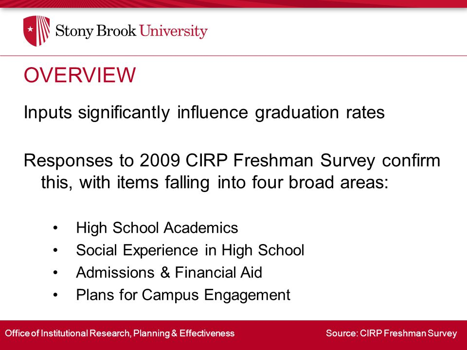 Office of Institutional Research, Planning & Effectiveness Source: CIRP Freshman Survey Inputs significantly influence graduation rates Responses to 2009 CIRP Freshman Survey confirm this, with items falling into four broad areas: High School Academics Social Experience in High School Admissions & Financial Aid Plans for Campus Engagement OVERVIEW