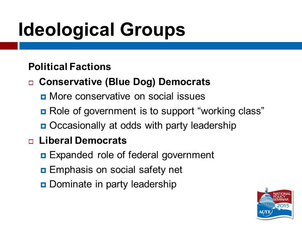 Ideological Groups Political Factions  Conservative (Blue Dog) Democrats  More conservative on social issues  Role of government is to support working class  Occasionally at odds with party leadership  Liberal Democrats  Expanded role of federal government  Emphasis on social safety net  Dominate in party leadership
