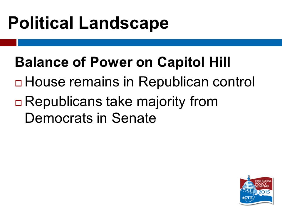 Political Landscape Balance of Power on Capitol Hill  House remains in Republican control  Republicans take majority from Democrats in Senate