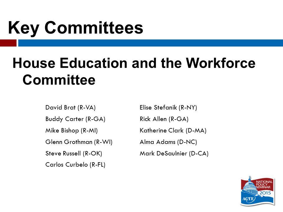 Key Committees House Education and the Workforce Committee David Brat (R-VA)Elise Stefanik (R-NY) Buddy Carter (R-GA)Rick Allen (R-GA) Mike Bishop (R-MI)Katherine Clark (D-MA) Glenn Grothman (R-WI)Alma Adams (D-NC) Steve Russell (R-OK)Mark DeSaulnier (D-CA) Carlos Curbelo (R-FL)