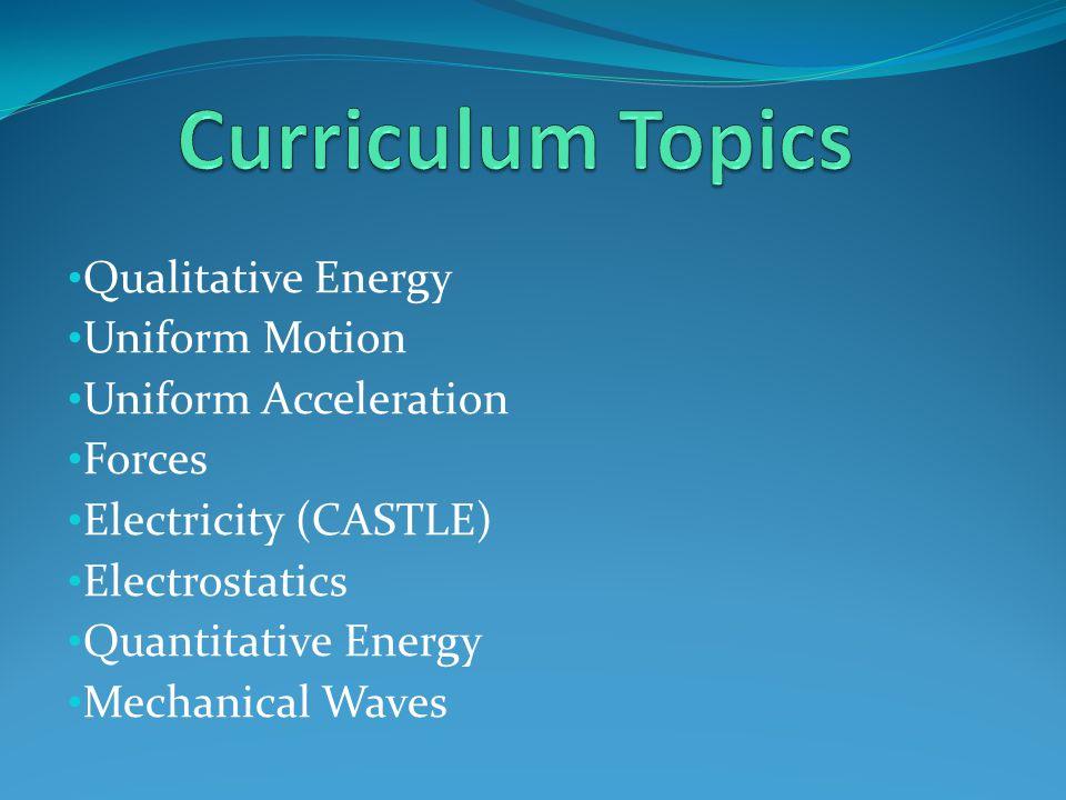 Qualitative Energy Uniform Motion Uniform Acceleration Forces Electricity (CASTLE) Electrostatics Quantitative Energy Mechanical Waves