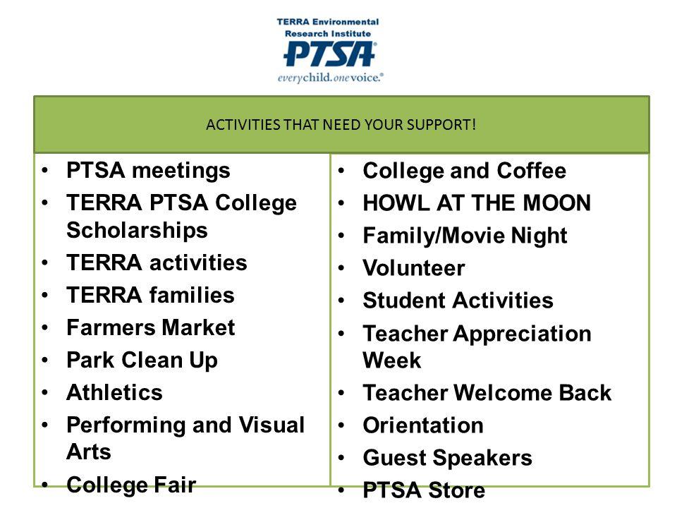 PTSA meetings TERRA PTSA College Scholarships TERRA activities TERRA families Farmers Market Park Clean Up Athletics Performing and Visual Arts Colleg