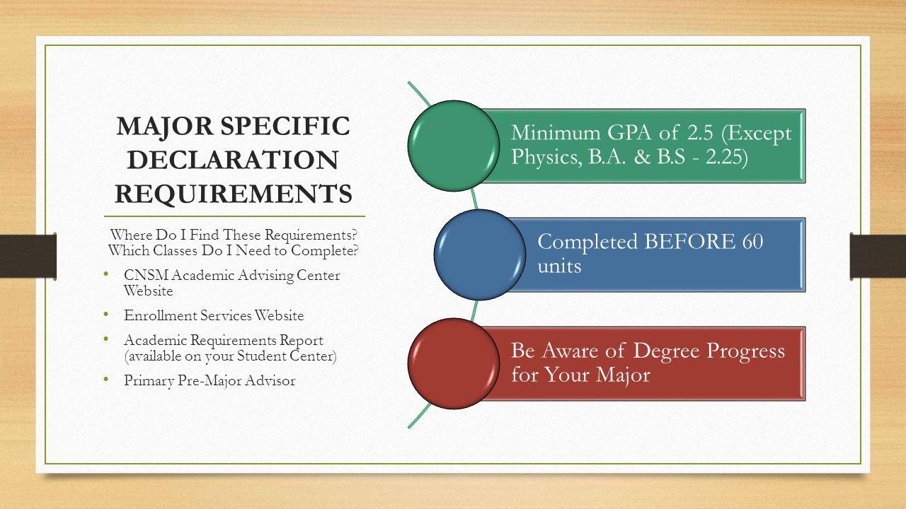 Declaration Requirements by Major BIOLOGY (all options)  Minimum GPA 2.5  MATH 119A or MATH 122  CHEM 111A, CHEM 111B, BIOL 211 CHEMISTRY & BIOCHEMISTRY  Minimum GPA 2.5  MATH 122, MATH 123  CHEM 111A, CHEM 111B GEOLOGY  Minimum GPA 2.5  GEOL 102, GEOL 104  Three of the following four:  CHEM 111A, 111B  MATH 122, 123 EARTH SCIENCE  Minimum GPA 2.5  MATH 122, MATH 123  GEOL 102, GEOL 104  CHEM 111A MATHEMATICS  Minimum GPA 2.5  MATH 122, MATH 123 PHYSICS B.S.