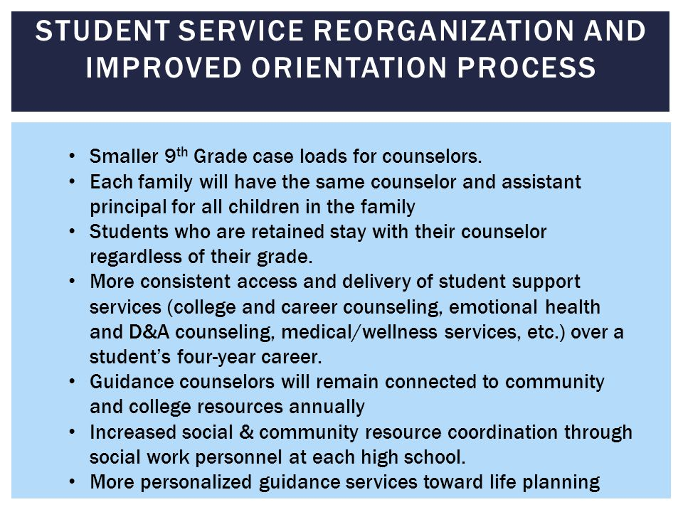 STUDENT SERVICE REORGANIZATION AND IMPROVED ORIENTATION PROCESS Smaller 9 th Grade case loads for counselors.