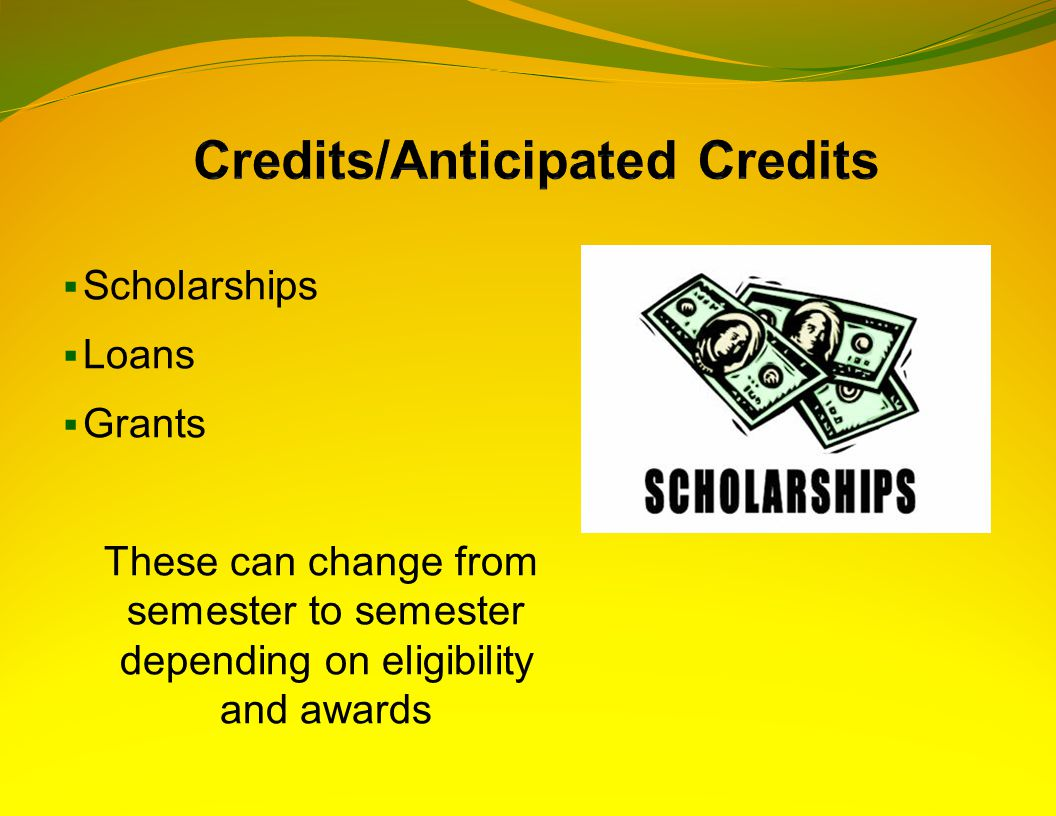  Scholarships  Loans  Grants These can change from semester to semester depending on eligibility and awards