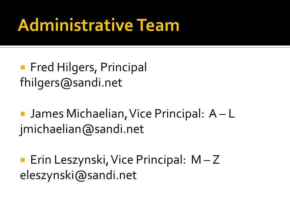  Fred Hilgers, Principal fhilgers@sandi.net  James Michaelian, Vice Principal: A – L jmichaelian@sandi.net  Erin Leszynski, Vice Principal: M – Z eleszynski@sandi.net