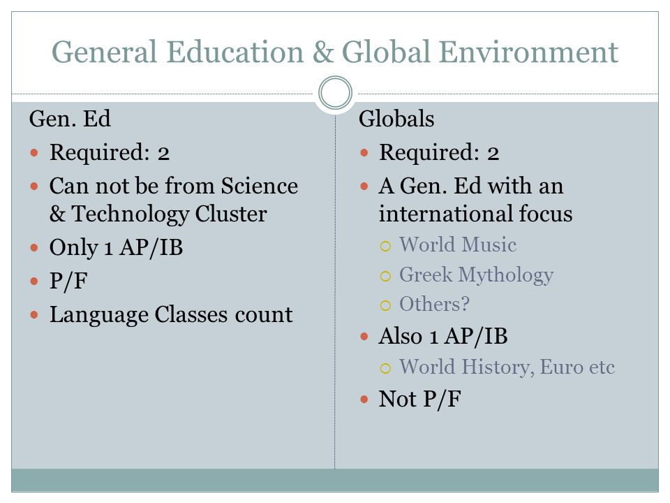 General Education & Global Environment Gen. Ed Required: 2 Can not be from Science & Technology Cluster Only 1 AP/IB P/F Language Classes count Global
