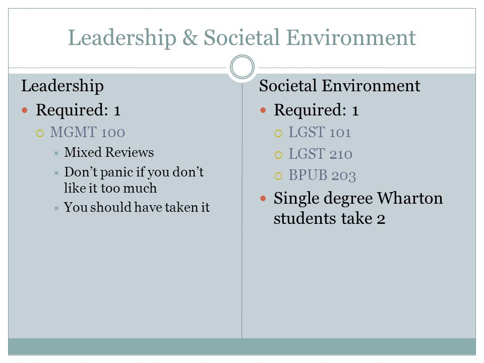 Leadership & Societal Environment Leadership Required: 1  MGMT 100  Mixed Reviews  Don't panic if you don't like it too much  You should have taken it Societal Environment Required: 1  LGST 101  LGST 210  BPUB 203 Single degree Wharton students take 2