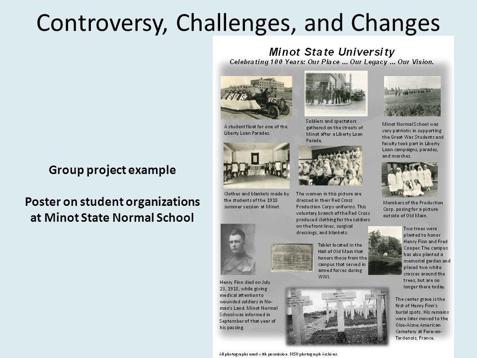 Controversy, Challenges, and Changes Group project example Poster on student organizations at Minot State Normal School