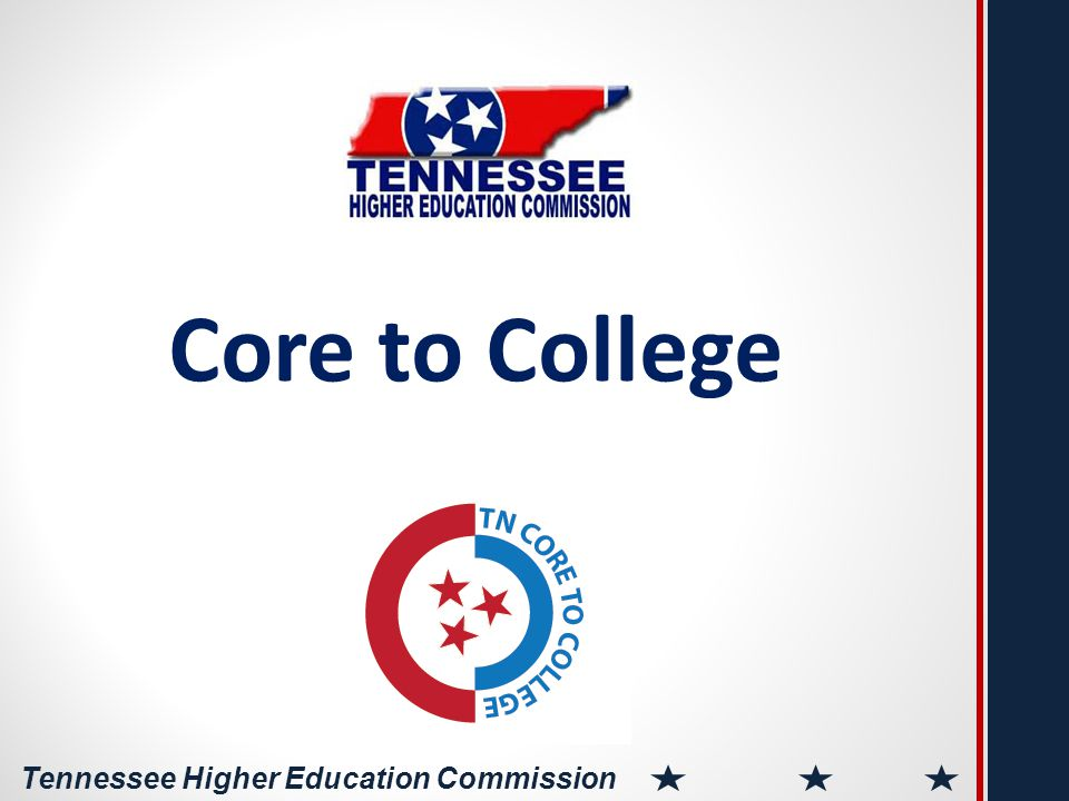 Tennessee Higher Education Commission National Core to College Broad funding Conceived and funded by Building Long-Term Collaboration Common Core State Standards and PARCC require postsecondary and K-12 to forge new, stronger relationships.