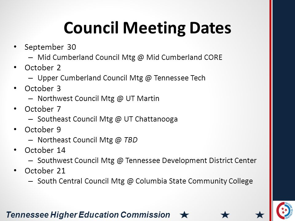 Tennessee Higher Education Commission Sample Agenda 10:00-10:30 Welcome, Introductions, and Keynote 10:30-11:00Intro Table Talks 11:00-12:00Areas of Opportunity Discussion and Consensus 12:00-12:30Working Lunch 12:30-1:45Action Plan Development 1:45-2:00Q and A