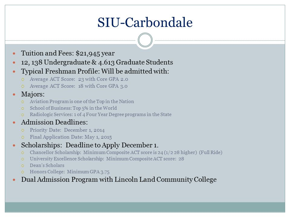 SIU-Carbondale Tuition and Fees: $21,945 year 12, 138 Undergraduate & 4.613 Graduate Students Typical Freshman Profile: Will be admitted with:  Avera