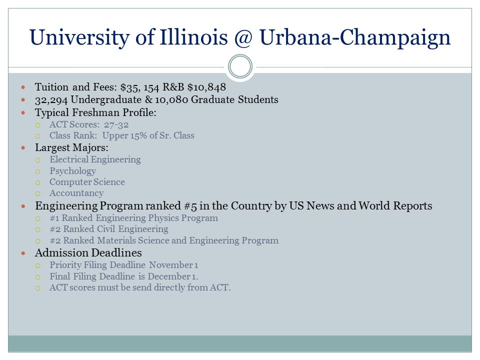 University of Illinois @ Urbana-Champaign Tuition and Fees: $35, 154 R&B $10,848 32,294 Undergraduate & 10,080 Graduate Students Typical Freshman Prof