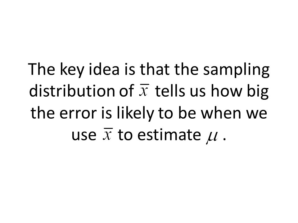 The key idea is that the sampling distribution of tells us how big the error is likely to be when we use to estimate.