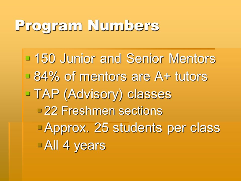 Program Numbers  150 Junior and Senior Mentors  84% of mentors are A+ tutors  TAP (Advisory) classes  22 Freshmen sections  Approx.