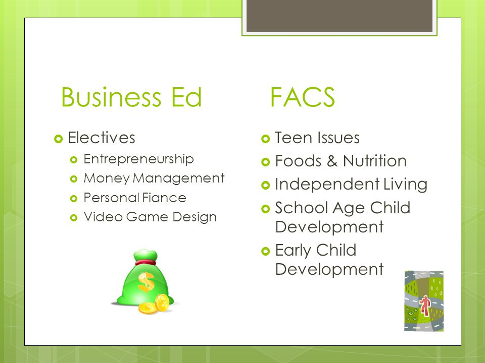 Business Ed FACS  Electives  Entrepreneurship  Money Management  Personal Fiance  Video Game Design  Teen Issues  Foods & Nutrition  Independe