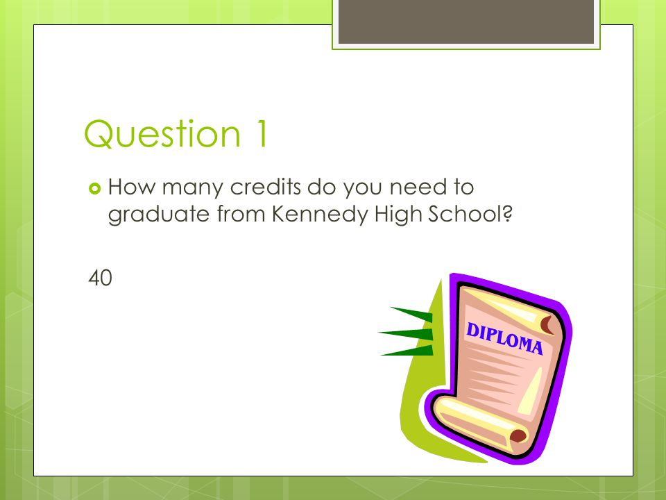 Question 1 HHow many credits do you need to graduate from Kennedy High School? 40