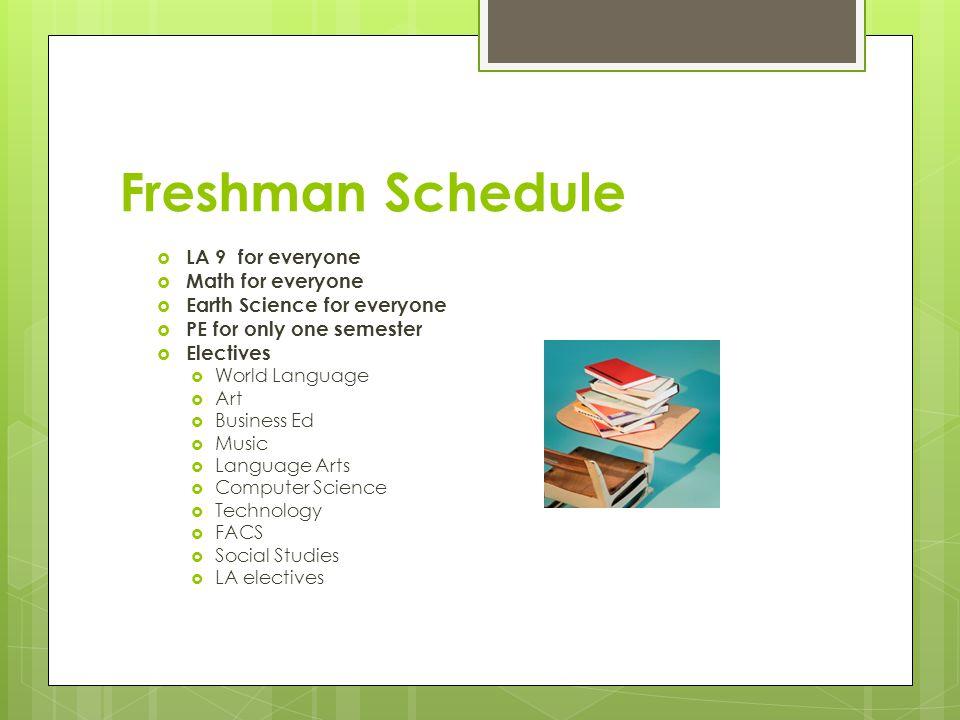 Freshman Schedule  LA 9 for everyone  Math for everyone  Earth Science for everyone  PE for only one semester  Electives  World Language  Art 