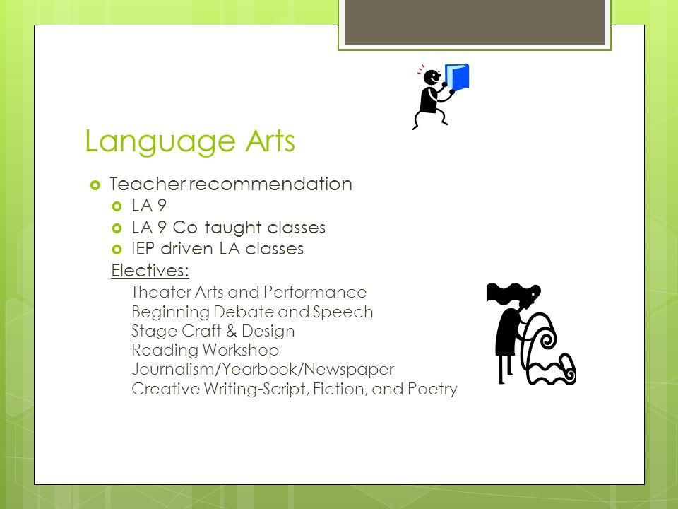 Language Arts  Teacher recommendation  LA 9  LA 9 Co taught classes  IEP driven LA classes Electives: Theater Arts and Performance Beginning Debat