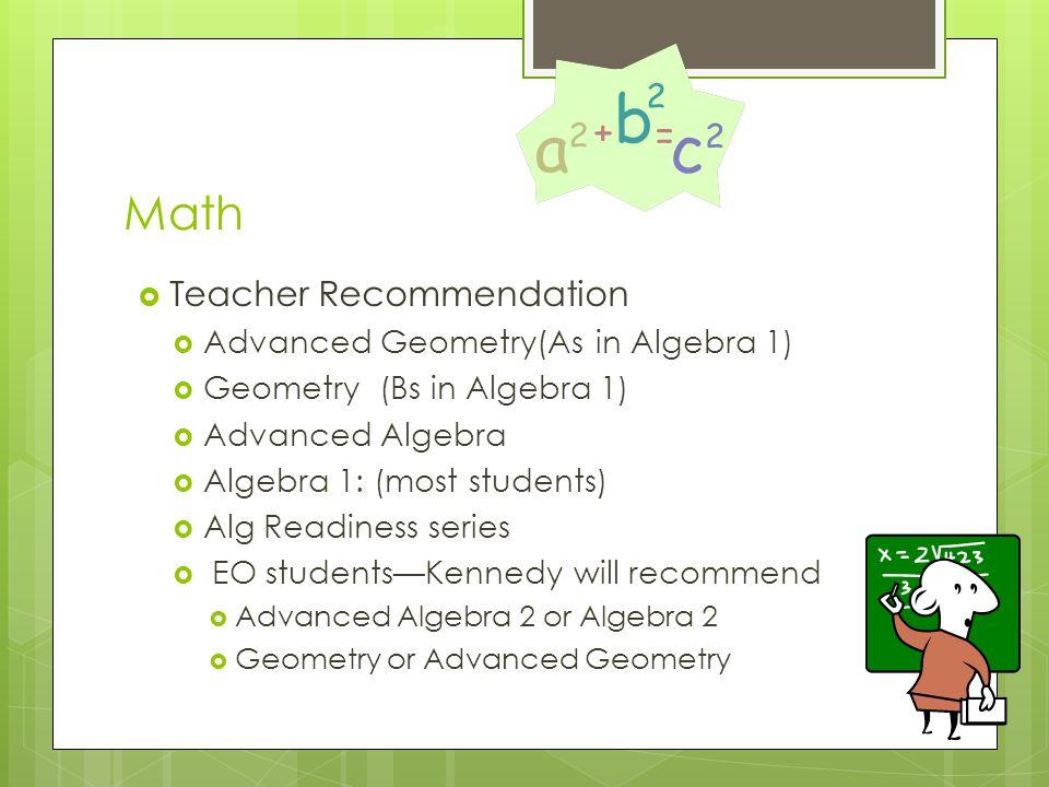 Math  Teacher Recommendation  Advanced Geometry(As in Algebra 1)  Geometry (Bs in Algebra 1)  Advanced Algebra  Algebra 1: (most students)  Alg