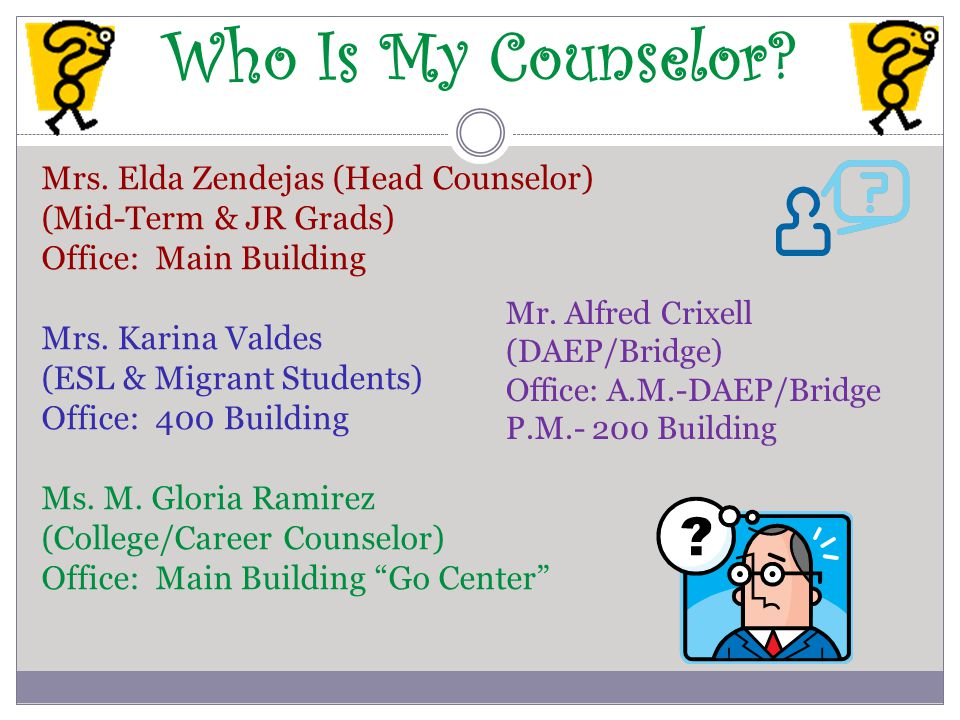 Who Is My Counselor? Mrs. Elda Zendejas (Head Counselor) (Mid-Term & JR Grads) Office: Main Building Mrs. Karina Valdes (ESL & Migrant Students) Offic