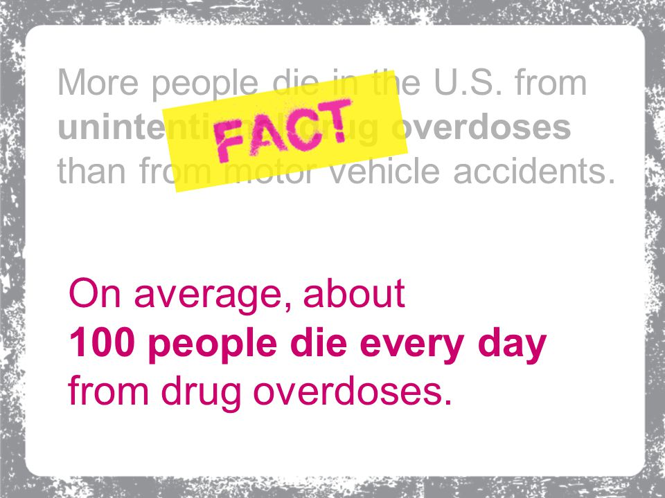 On average, about 100 people die every day from drug overdoses.