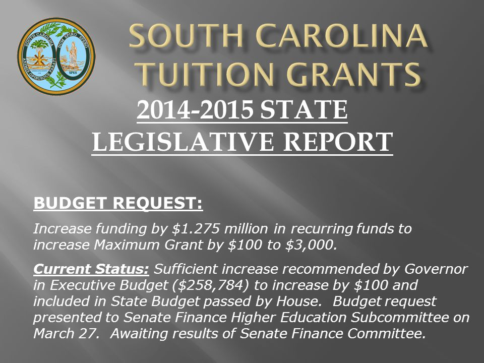 2014-2015 STATE LEGISLATIVE REPORT BUDGET REQUEST: Increase funding by $1.275 million in recurring funds to increase Maximum Grant by $100 to $3,000.