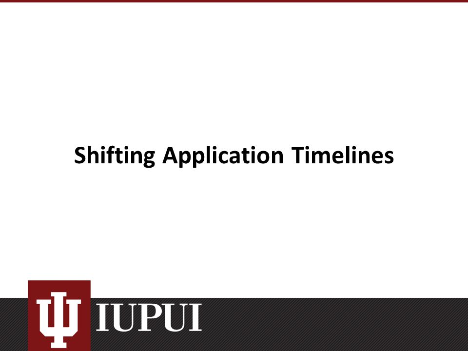 Shifting Application Timelines