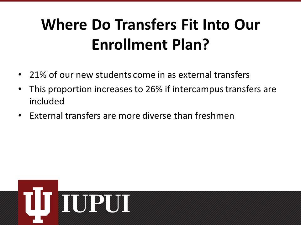 Where Do Transfers Fit Into Our Enrollment Plan.