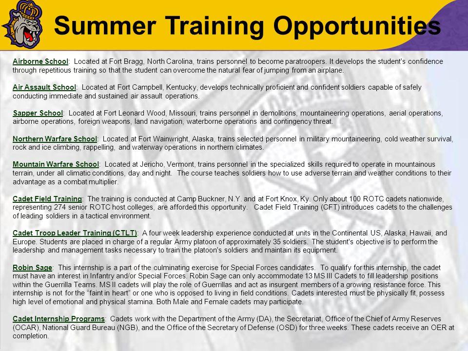 ROTC Commitment Classroom: 1-3 hours per week.Leadership Lab: 2-4 hours per week.