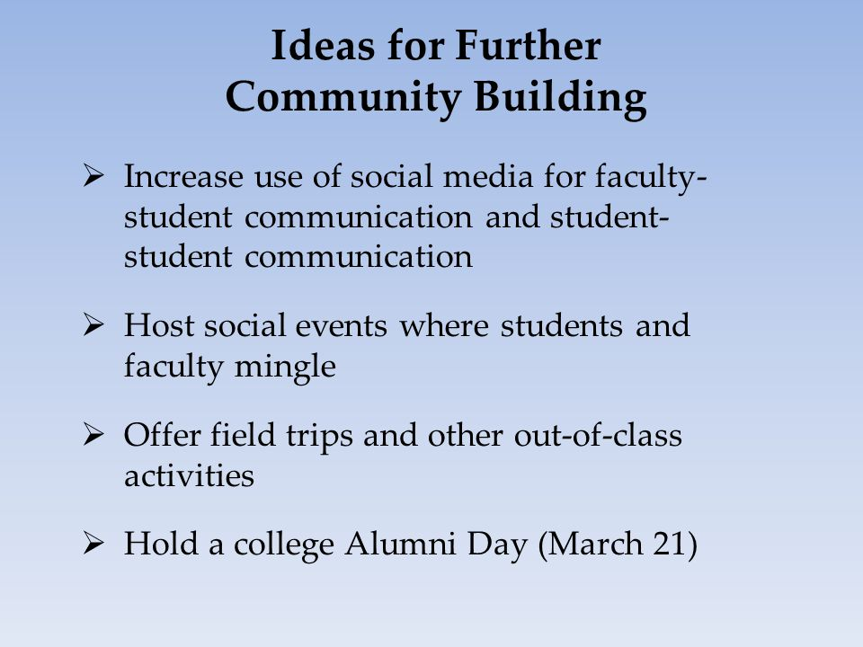 Ideas for Further Community Building  Increase use of social media for faculty- student communication and student- student communication  Host social events where students and faculty mingle  Offer field trips and other out-of-class activities  Hold a college Alumni Day (March 21)