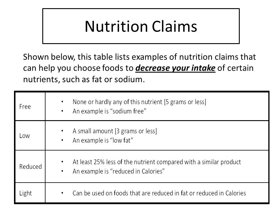 Nutrition Claims Shown below, this table lists examples of nutrition claims that can help you choose foods to decrease your intake of certain nutrients, such as fat or sodium.
