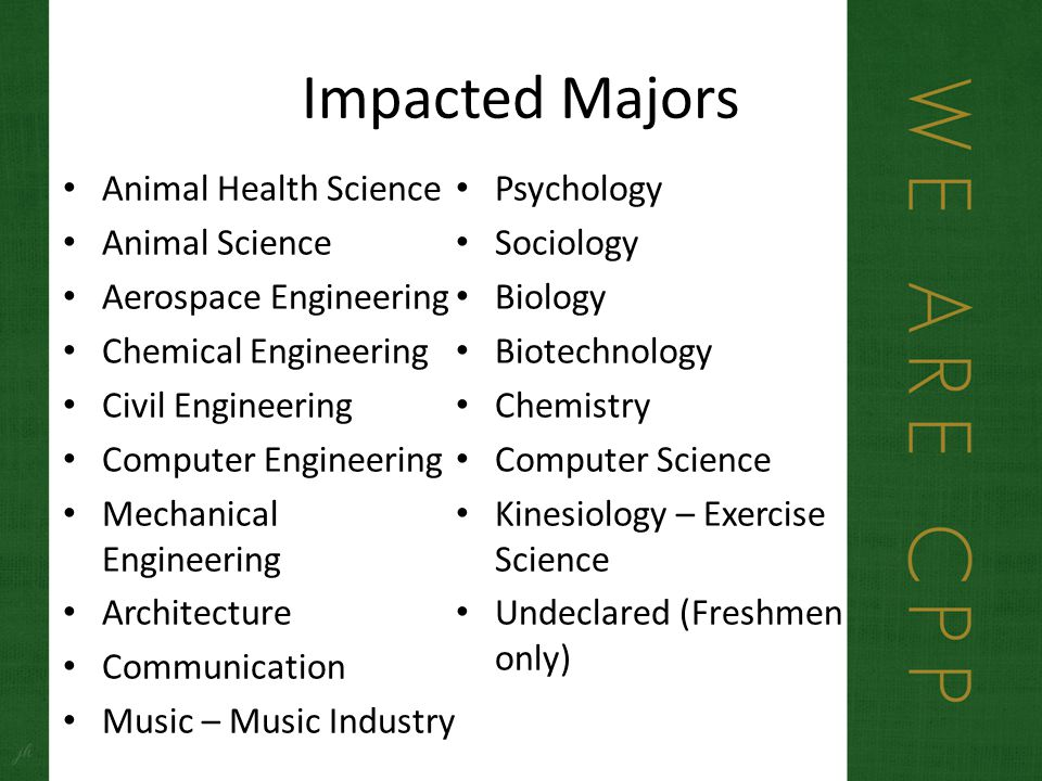 Impacted Majors Animal Health Science Animal Science Aerospace Engineering Chemical Engineering Civil Engineering Computer Engineering Mechanical Engineering Architecture Communication Music – Music Industry Psychology Sociology Biology Biotechnology Chemistry Computer Science Kinesiology – Exercise Science Undeclared (Freshmen only)