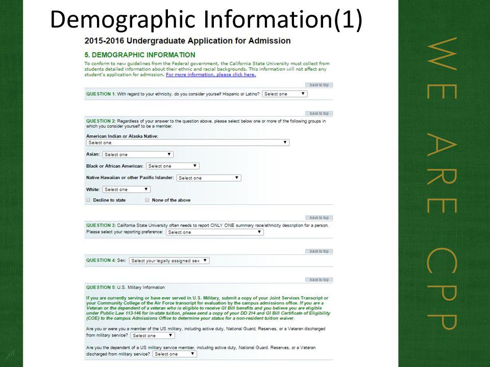 Demographic Information(1)