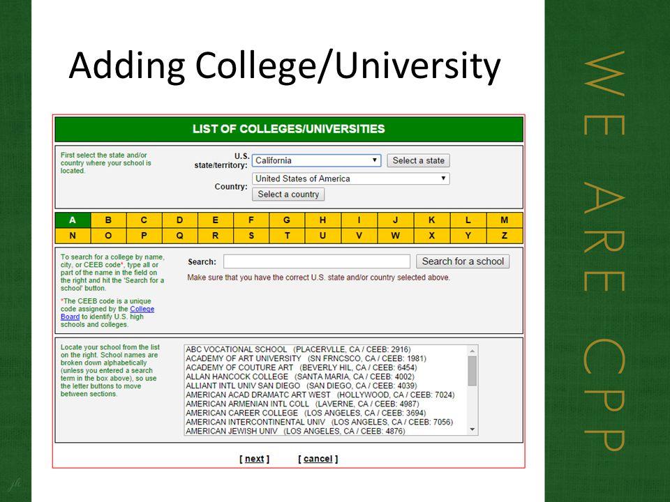 Adding College/University