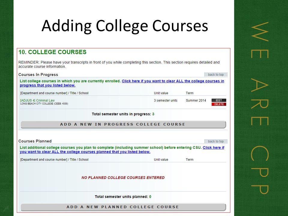 Adding College Courses
