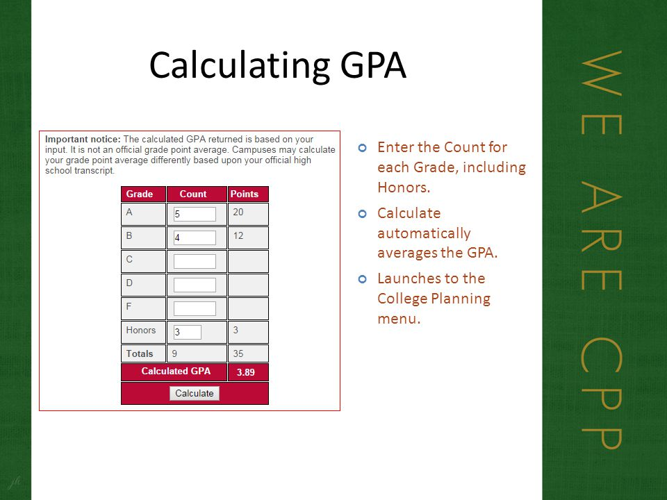 Calculating GPA Enter the Count for each Grade, including Honors.