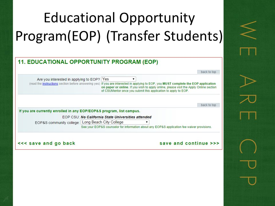 Educational Opportunity Program(EOP) (Transfer Students)